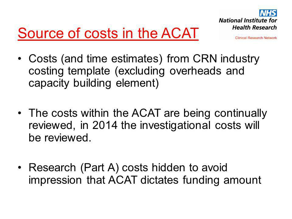 Source of costs in the ACAT