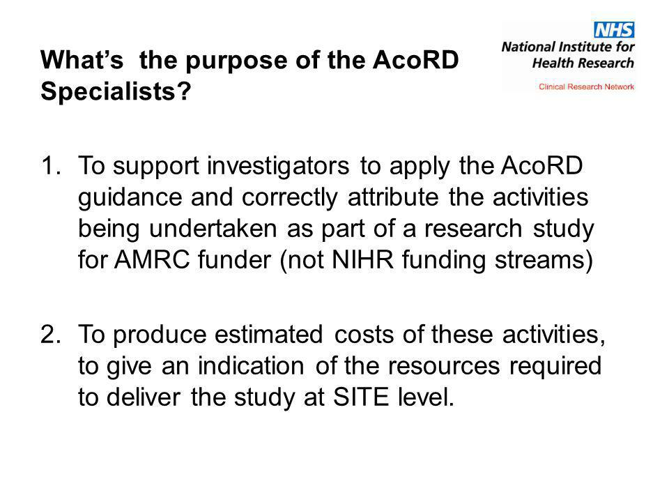 What's the purpose of the AcoRD Specialists