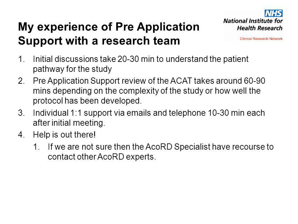 My experience of Pre Application Support with a research team