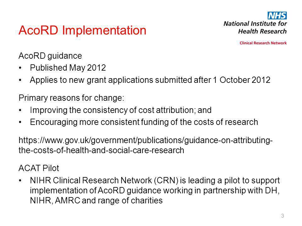 AcoRD Implementation AcoRD guidance Published May 2012