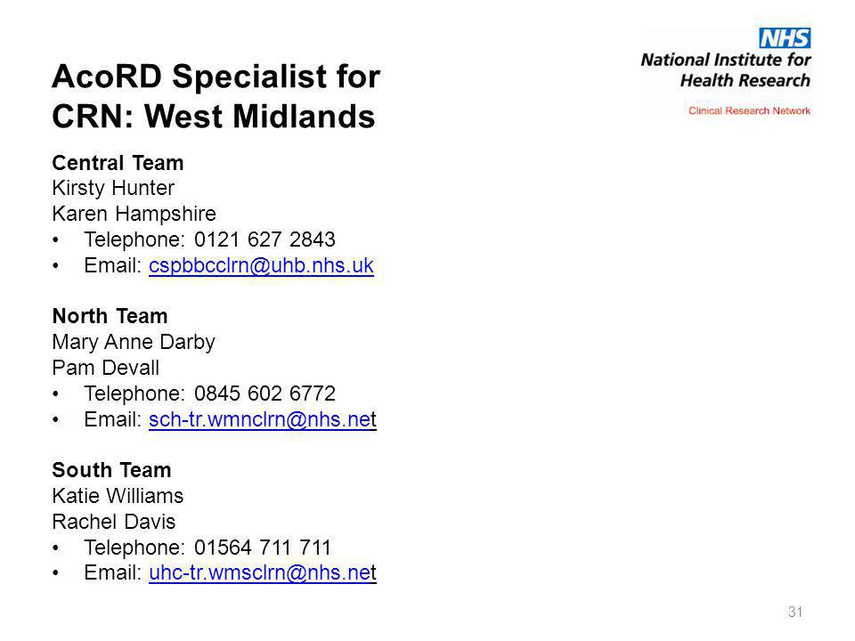 AcoRD Specialist for CRN: West Midlands