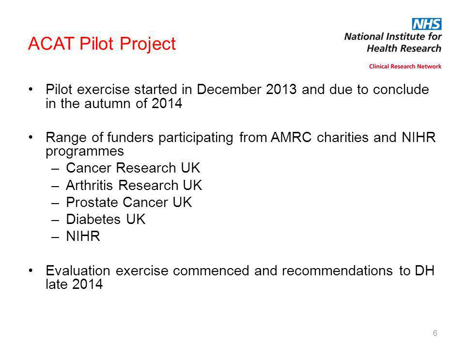 ACAT Pilot Project Pilot exercise started in December 2013 and due to conclude in the autumn of