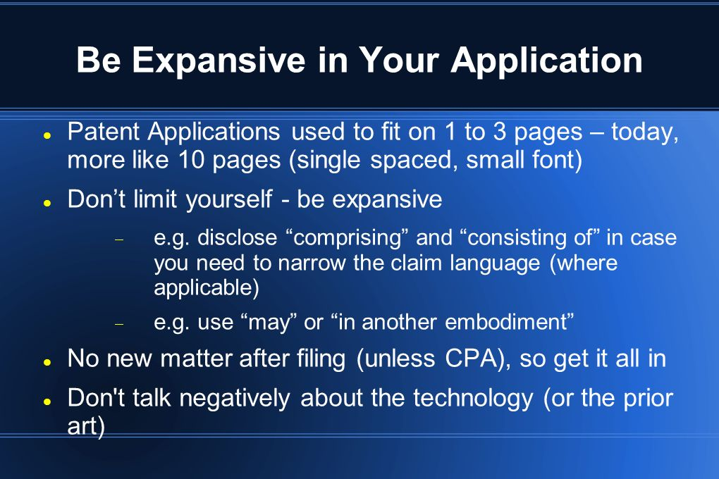 Be Expansive in Your Application