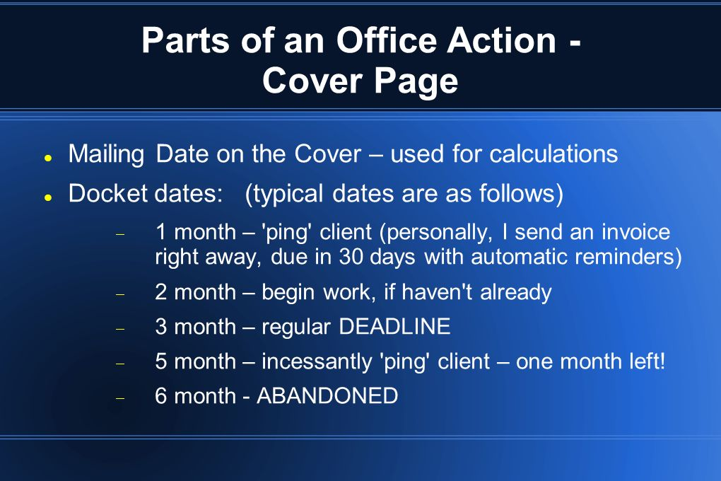 Parts of an Office Action - Cover Page