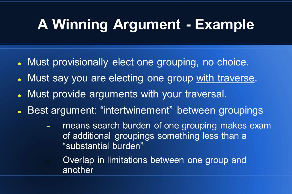 A Winning Argument - Example