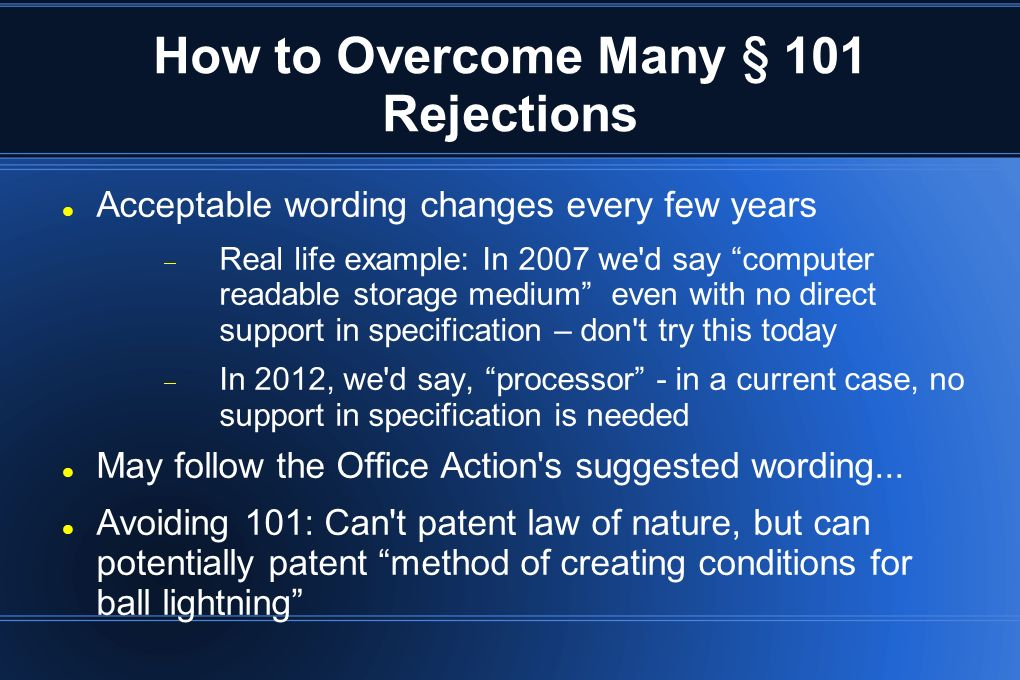 How to Overcome Many § 101 Rejections