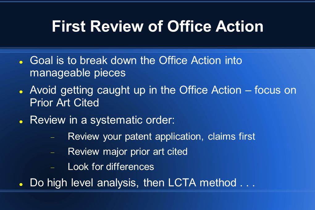 First Review of Office Action
