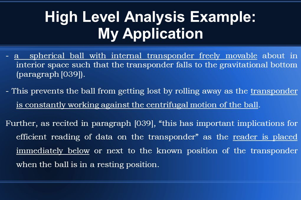 High Level Analysis Example: My Application