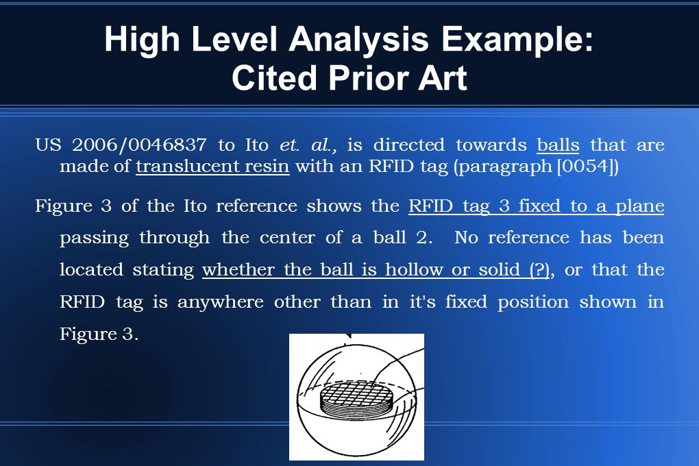 High Level Analysis Example: Cited Prior Art