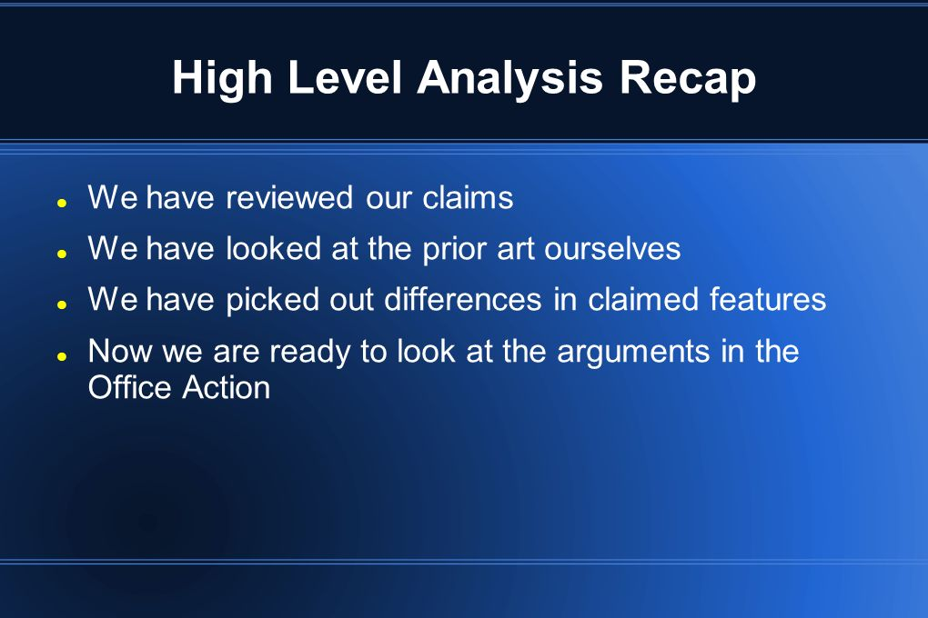 High Level Analysis Recap
