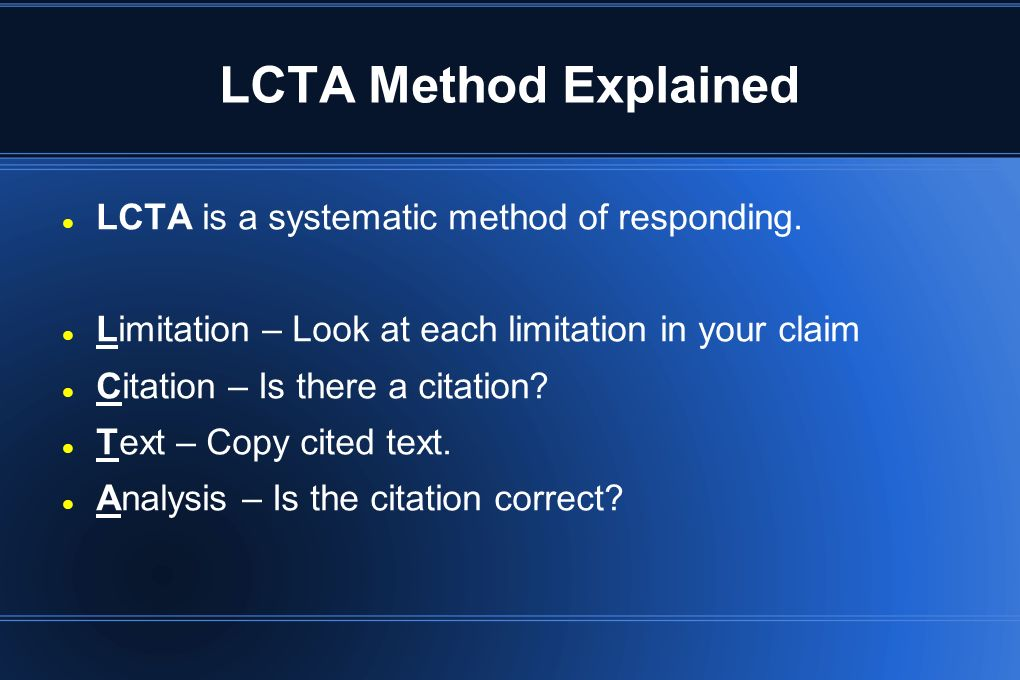 LCTA Method Explained LCTA is a systematic method of responding.