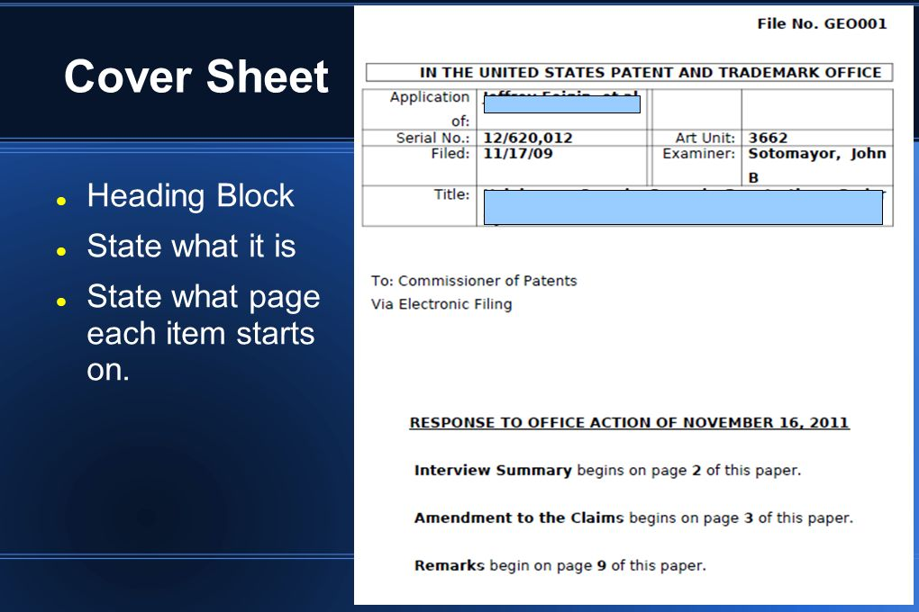Cover Sheet Heading Block State what it is