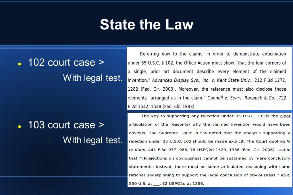 State the Law 102 court case > With legal test. 103 court case >