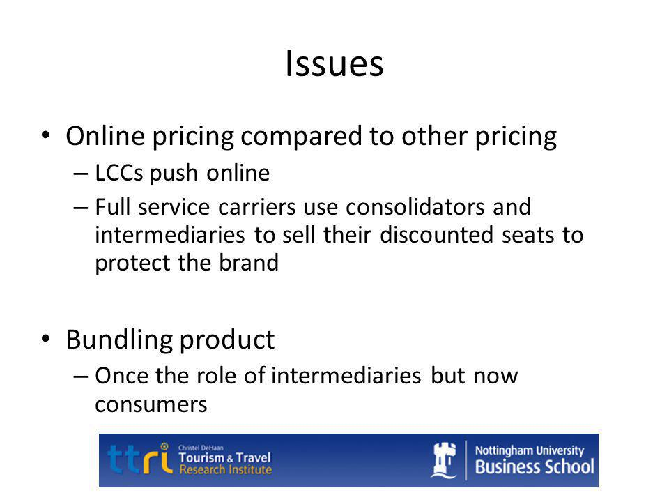 Issues Online pricing compared to other pricing Bundling product