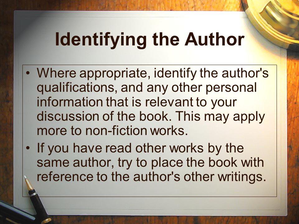 Identifying the Author