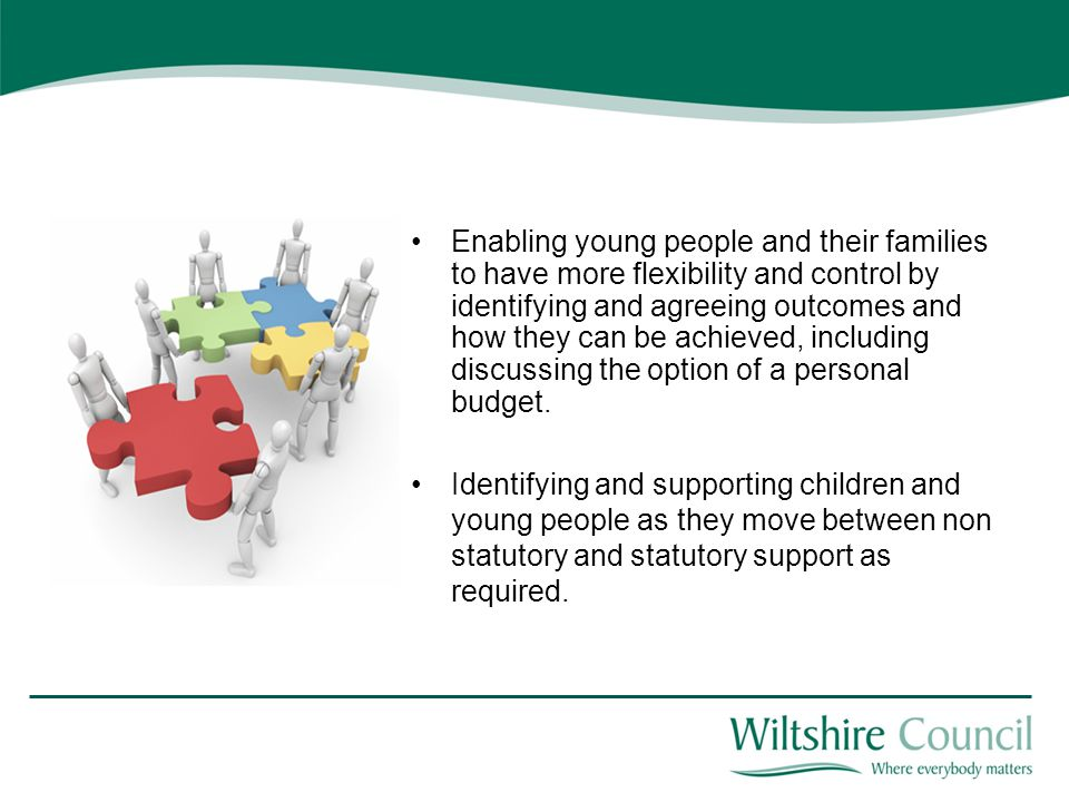 Enabling young people and their families to have more flexibility and control by identifying and agreeing outcomes and how they can be achieved, including discussing the option of a personal budget.