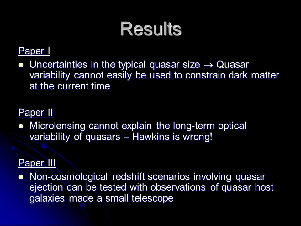 Results Paper I. Uncertainties in the typical quasar size  Quasar variability cannot easily be used to constrain dark matter at the current time.