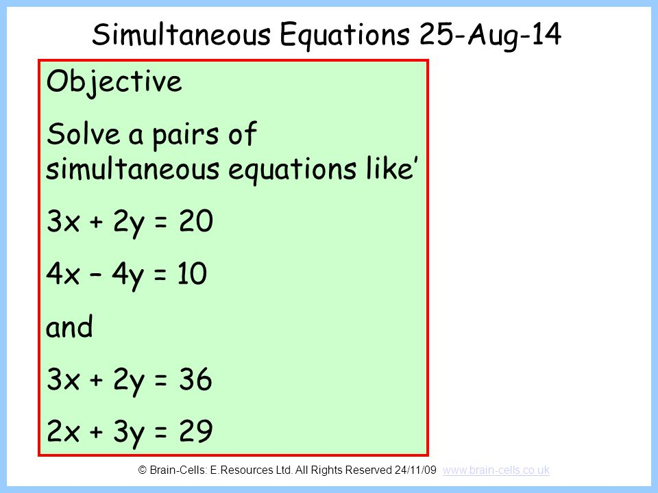 Simultaneous Equations 6-Apr-17