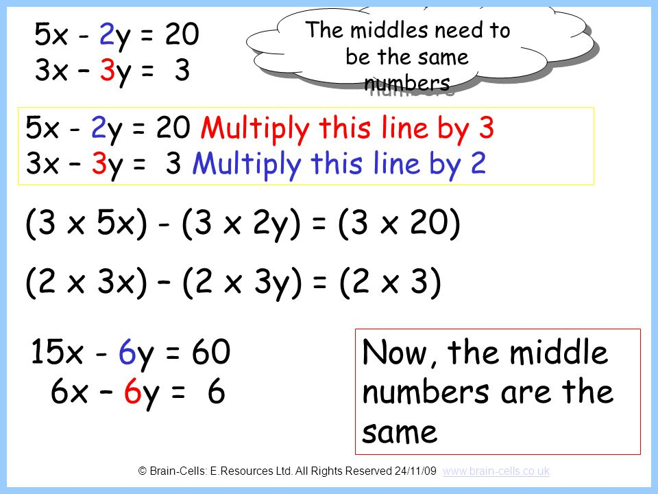 The middles need to be the same numbers