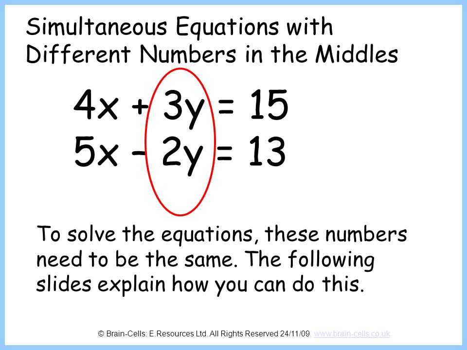 Simultaneous Equations with Different Numbers in the Middles