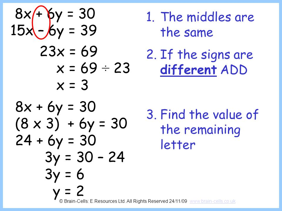 8x + 6y = 30 15x – 6y = 39. The middles are the same. If the signs are different ADD. Find the value of the remaining letter.