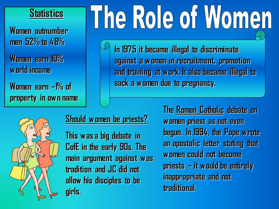 The Role of Women Statistics Women outnumber men 52% to 48%