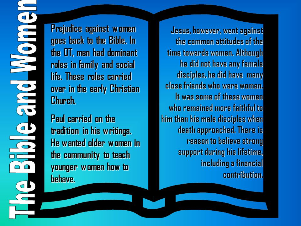 Prejudice against women goes back to the Bible
