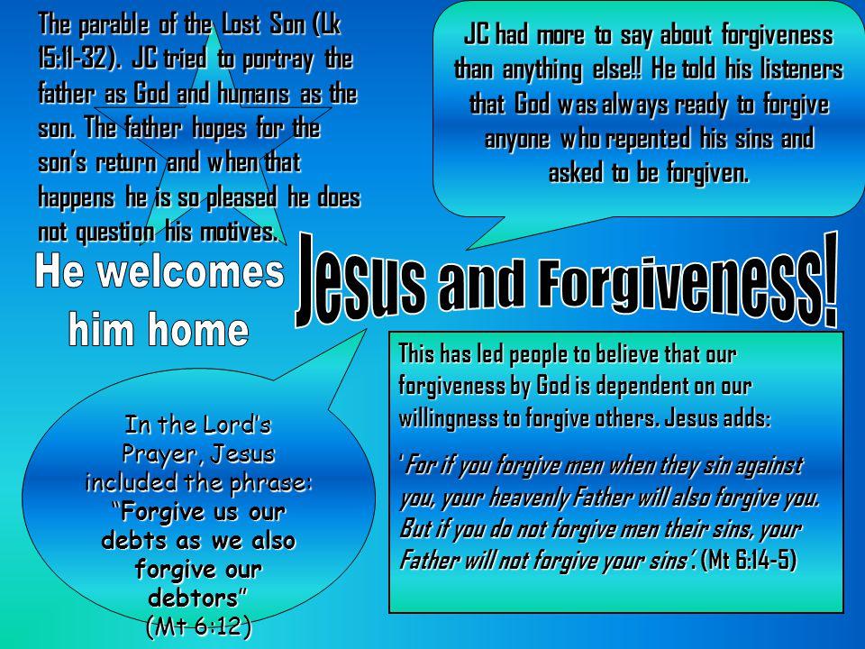 Jesus and Forgiveness! He welcomes him home
