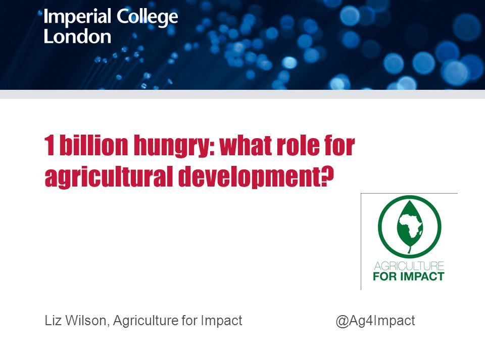 1 billion hungry: what role for agricultural development