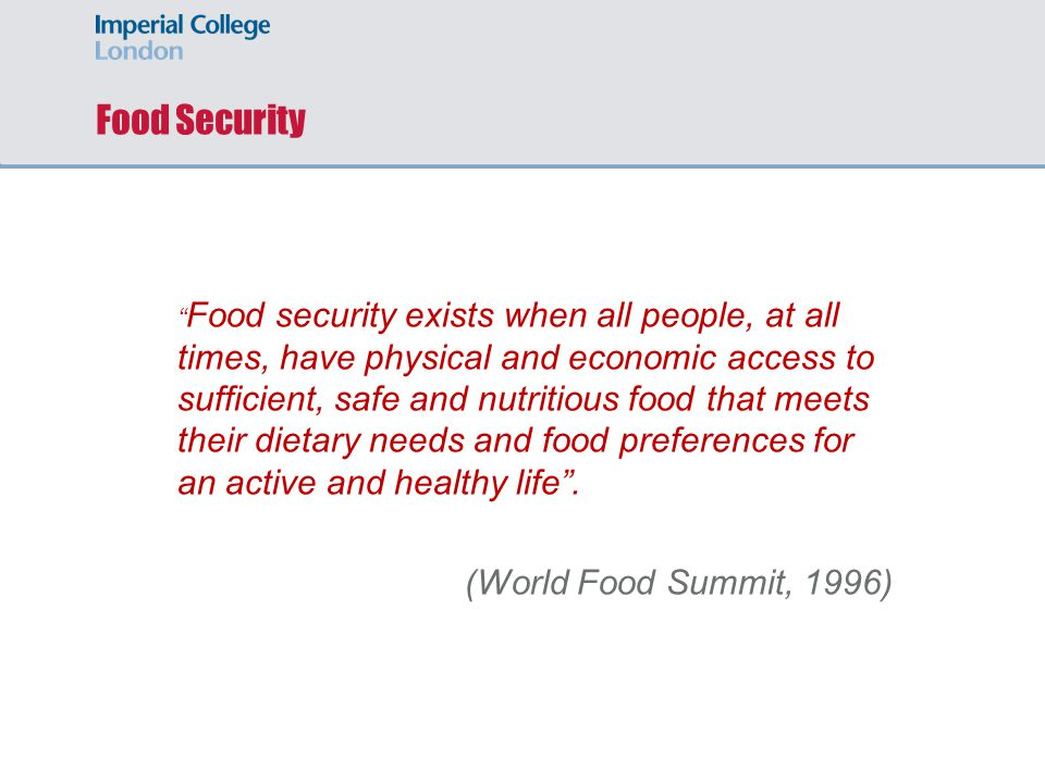 Food Security (World Food Summit, 1996)