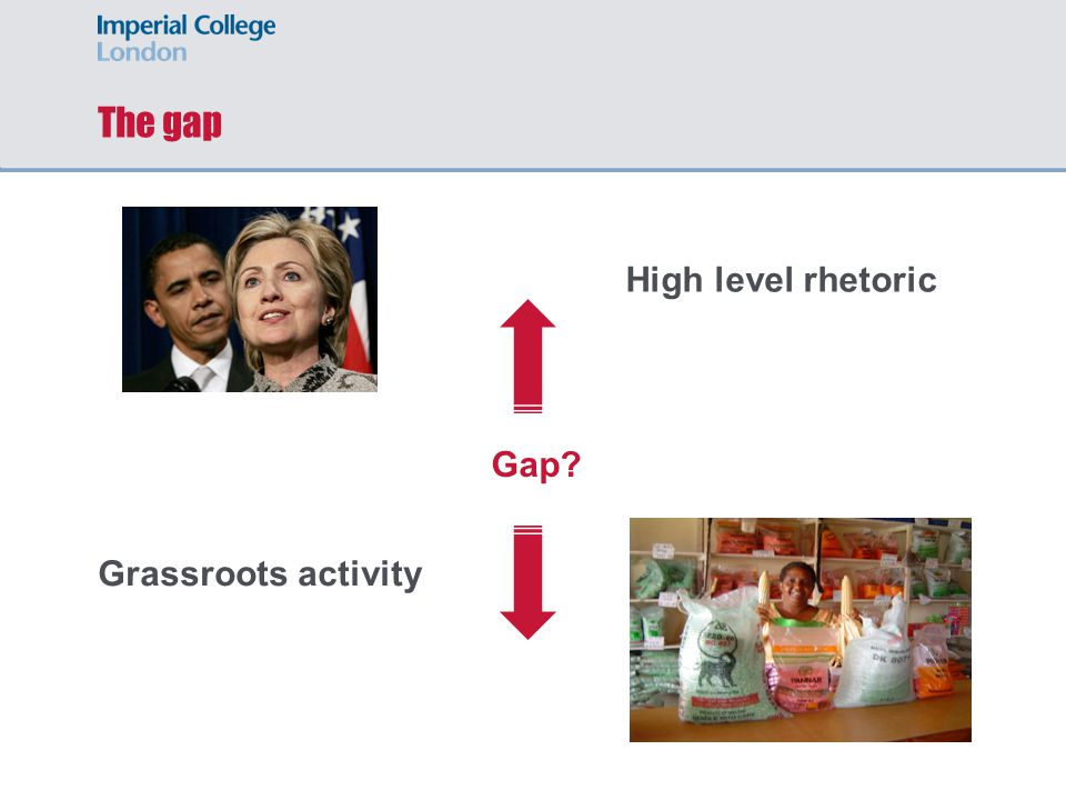 The gap High level rhetoric Gap Grassroots activity