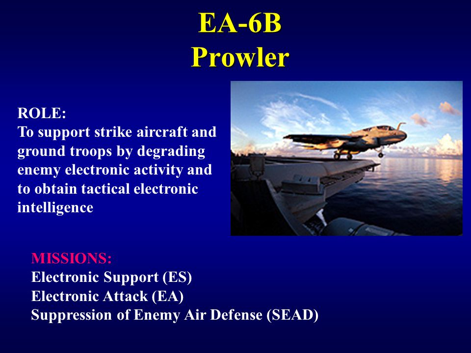EA-6B Prowler ROLE: To support strike aircraft and
