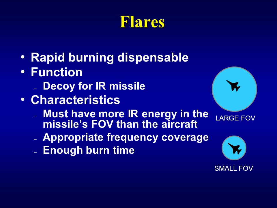 Flares Rapid burning dispensable Function Characteristics