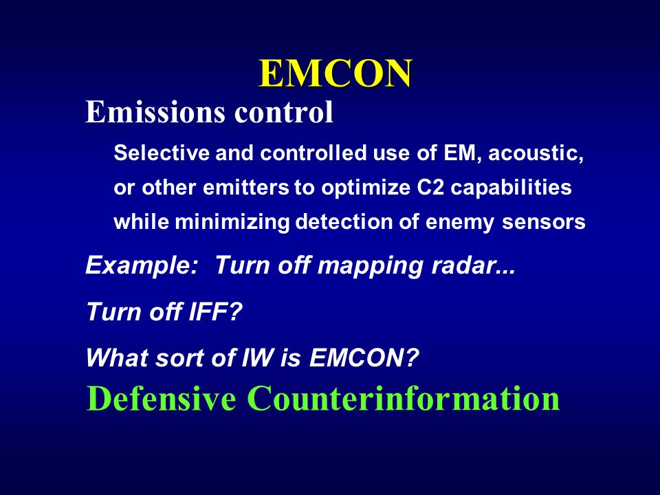 EMCON Defensive Counterinformation Emissions control