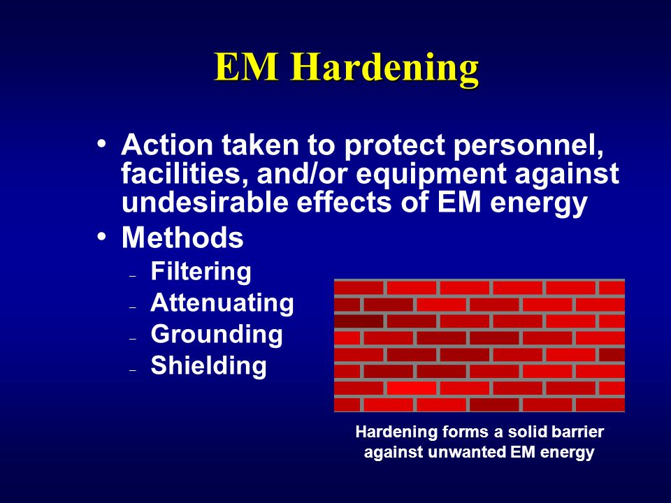 Hardening forms a solid barrier against unwanted EM energy