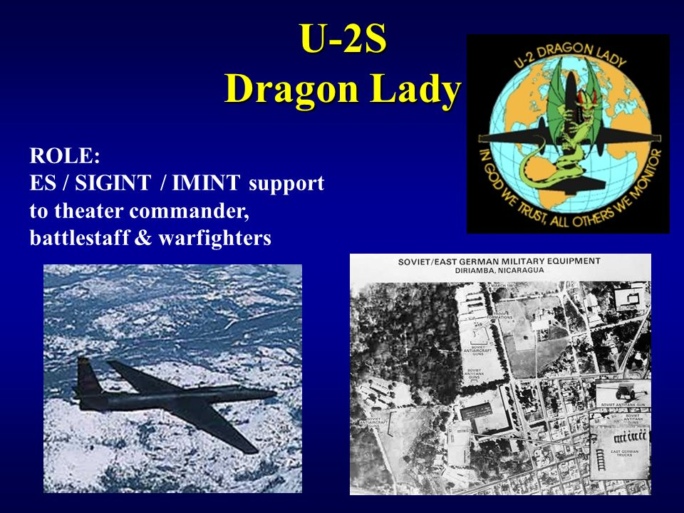 IW 150 EW Notetaker U-2S Dragon Lady. ROLE: ES / SIGINT / IMINT support to theater commander, battlestaff & warfighters.