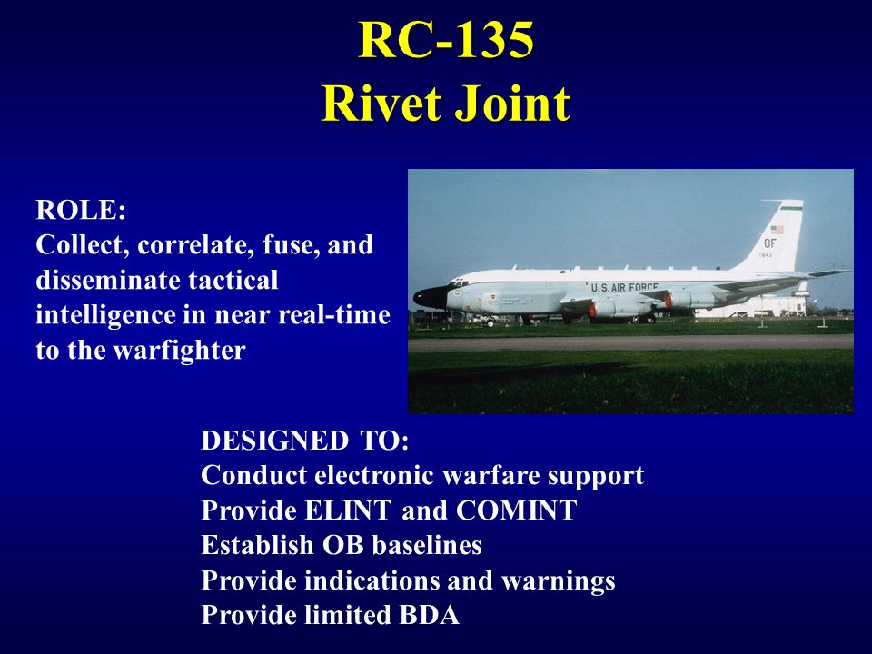 IW 150 EW Notetaker RC-135 Rivet Joint. ROLE: Collect, correlate, fuse, and disseminate tactical intelligence in near real-time to the warfighter.