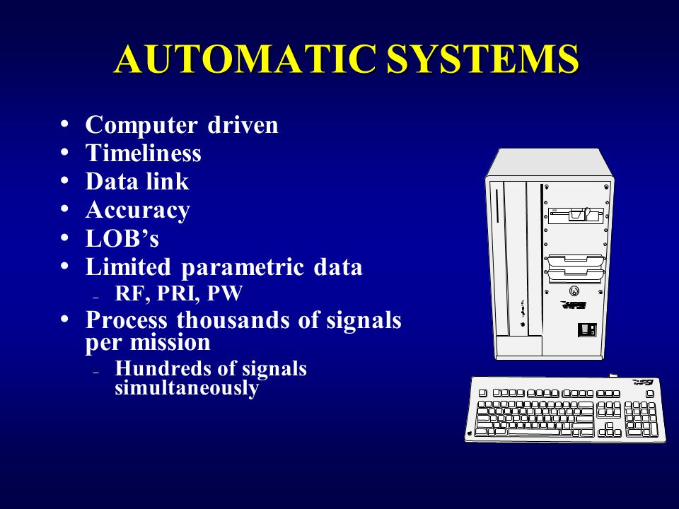 AUTOMATIC SYSTEMS Computer driven Timeliness Data link Accuracy LOB's