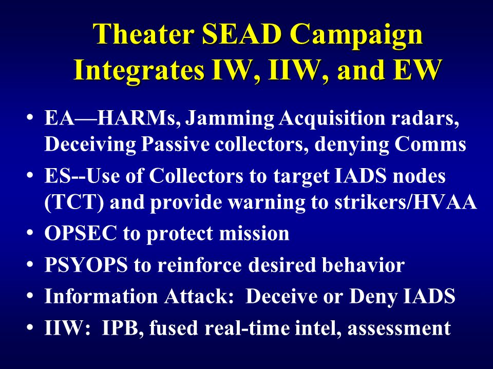 Theater SEAD Campaign Integrates IW, IIW, and EW