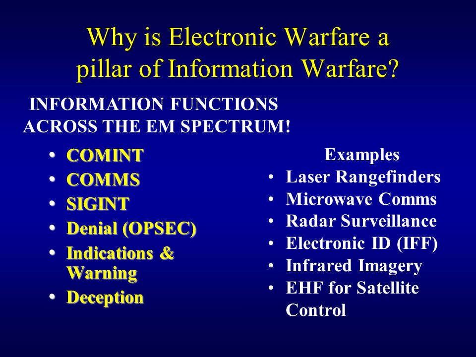 Why is Electronic Warfare a pillar of Information Warfare