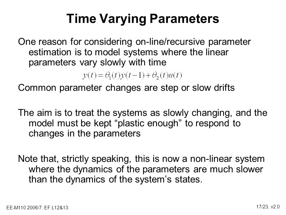 Time Varying Parameters