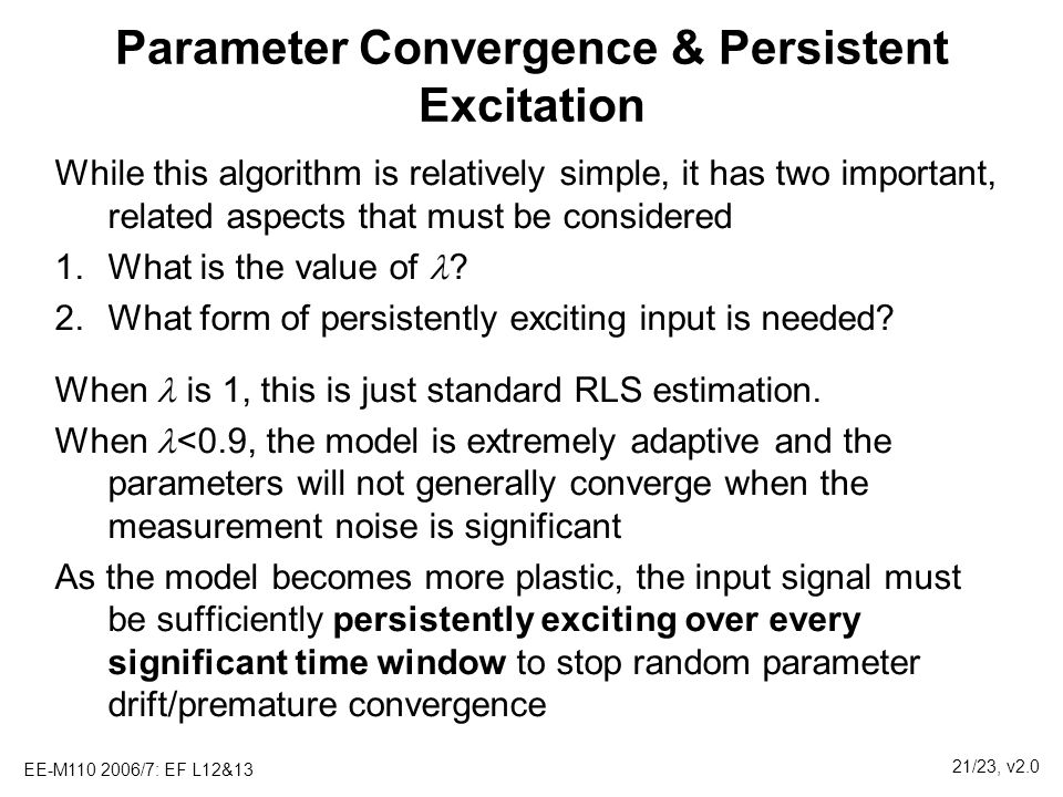 Parameter Convergence & Persistent Excitation
