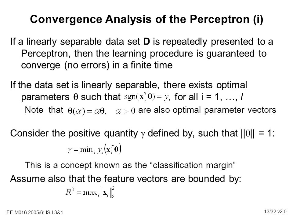 Convergence Analysis of the Perceptron (i)