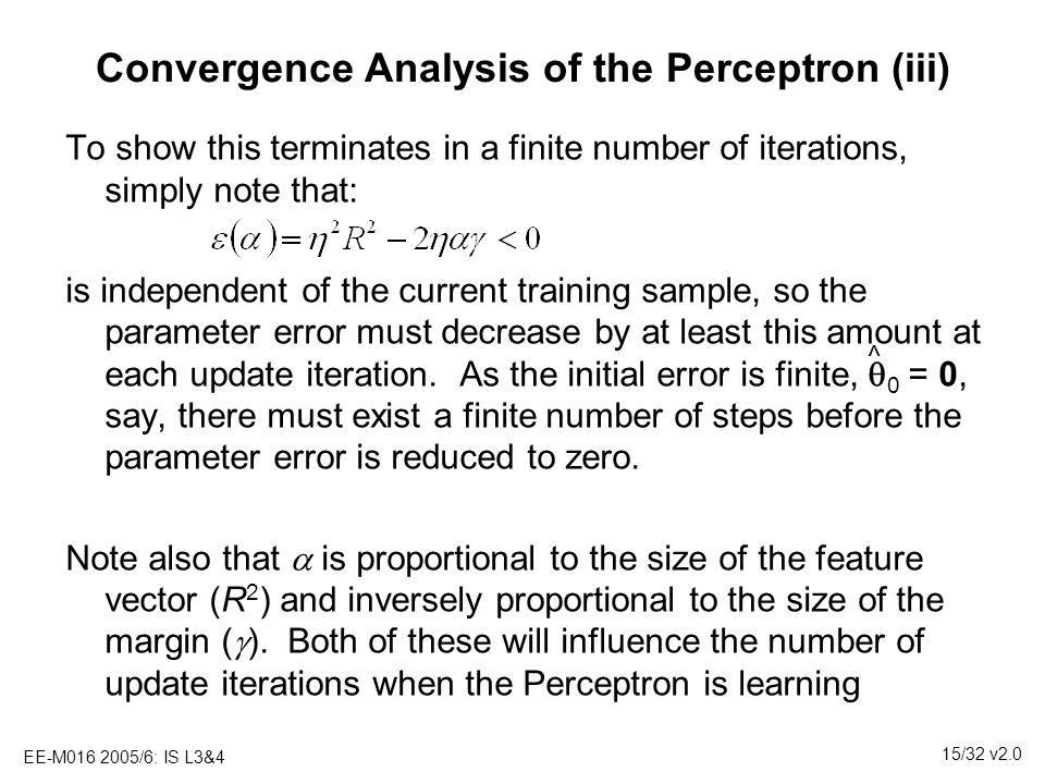 Convergence Analysis of the Perceptron (iii)