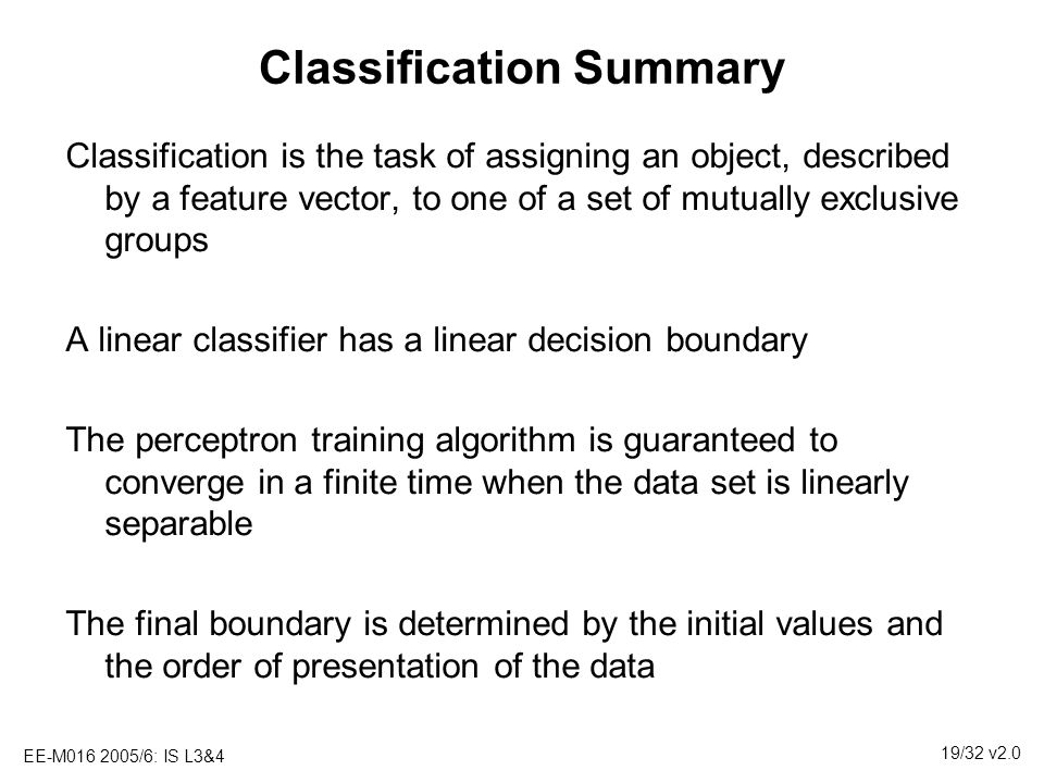 Classification Summary