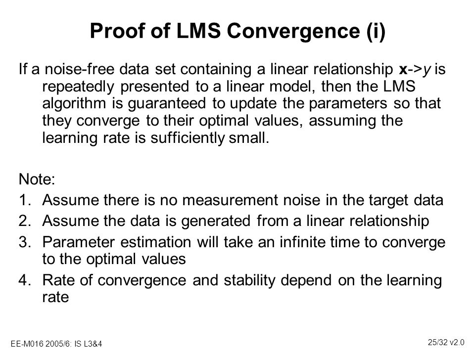 Proof of LMS Convergence (i)
