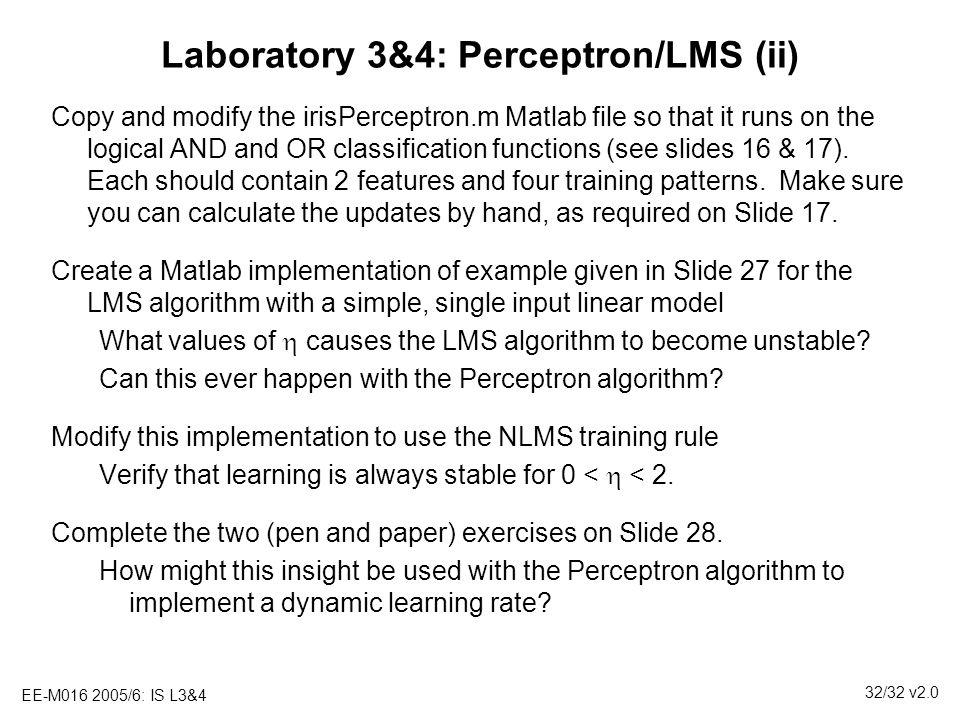 Laboratory 3&4: Perceptron/LMS (ii)