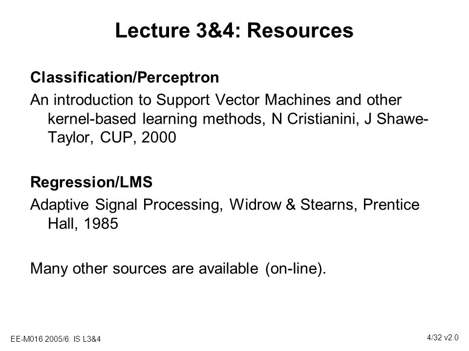 Lecture 3&4: Resources Classification/Perceptron