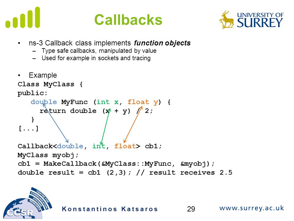 Callbacks ns-3 Callback class implements function objects Example