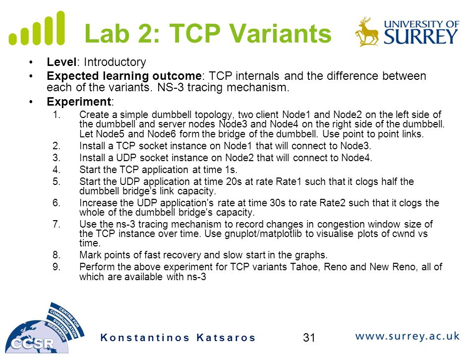 Lab 2: TCP Variants Level: Introductory